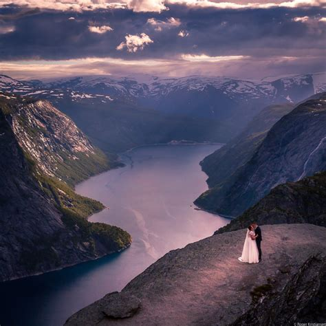 Bride And Groom On The Edge Of Trolltunga Norway Cute Pic