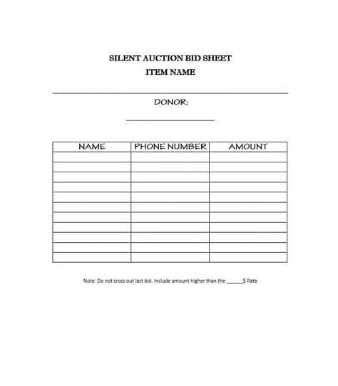 Bid Auctions 40 Silent Auction Bid Sheet Templates Word Excel