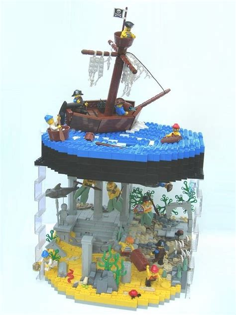 lego ship sinking in whirlpool lego creative use of transparent blocks