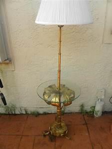Vintage hollywood regency faux bamboo tree brass floor for Retro hollywood floor lamp