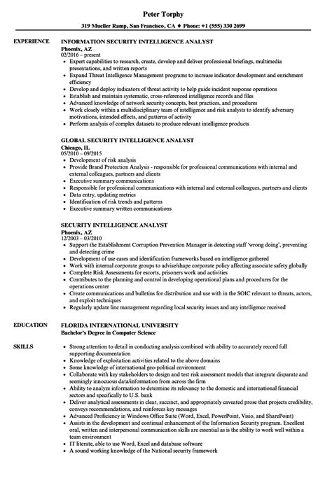 Intelligence Analyst Resume by Security Intelligence Analyst Resume Sles Velvet
