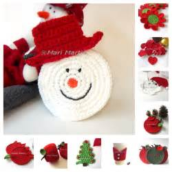 crochet colorful thinking of christmas crochet coasters snowman