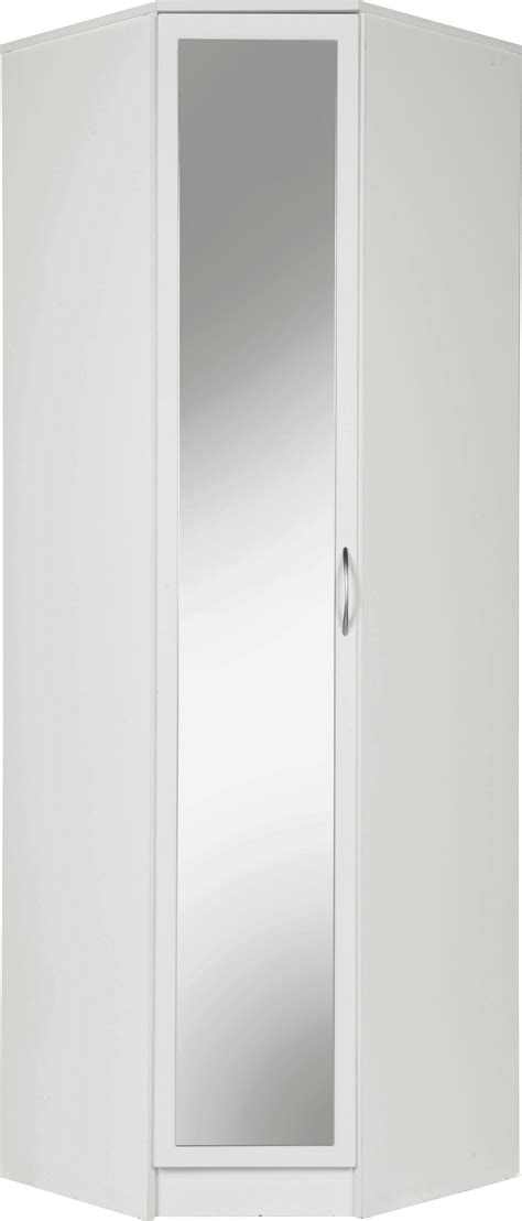 collection cheval  door mirrored corner wardrobe white