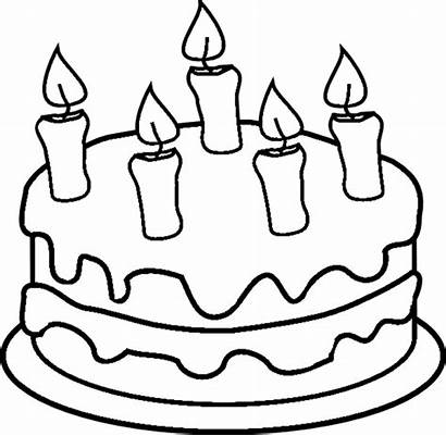 Cake Coloring Birthday Pages Candles Printable Colouring