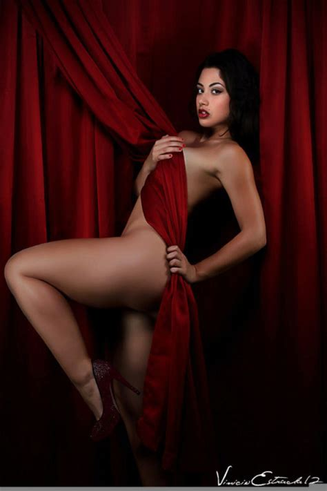 Latina Brunette Carol Seleme Poses With The Curtains