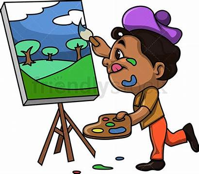 Painting Cartoon Kid Clipart Drawing Landscape Boy