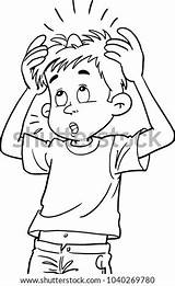 Bump Head His Kid Colouring Coloring Vector Shutterstock Template sketch template