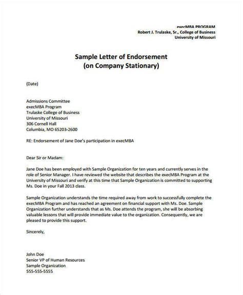 endorsement letters samples templates