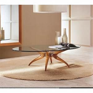 Table Basse Bois Et Verre : la table basse ovale variantes modernes d 39 un meuble classique ~ Teatrodelosmanantiales.com Idées de Décoration