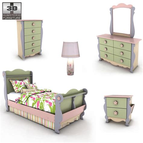 Dollhouse Bedroom Furniture by Doll House Sleigh Bedroom Set 3d Model Ready