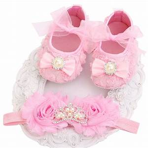 2016 New Girl Infant Tiara Baby Shoes White First Walkers ...