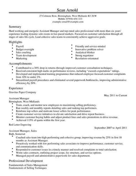 Assistant Manager Cv Exle by Sales Cv Templates Cv Sles Exles