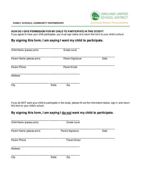 sample survey consent forms   ms word