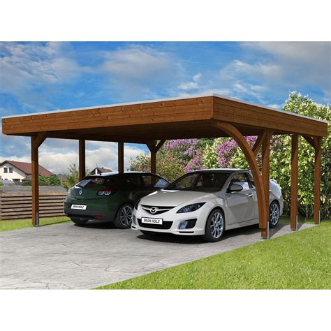 Holz Carport by Skan Holz Carport Friesland Set 7 557 Cm X 555 Cm Nussbaum
