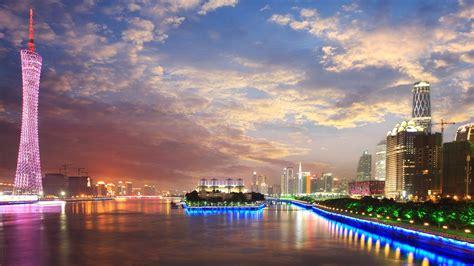 city  china guangzhous  sunset cityscape pearl river night  ultra hd wallpaper