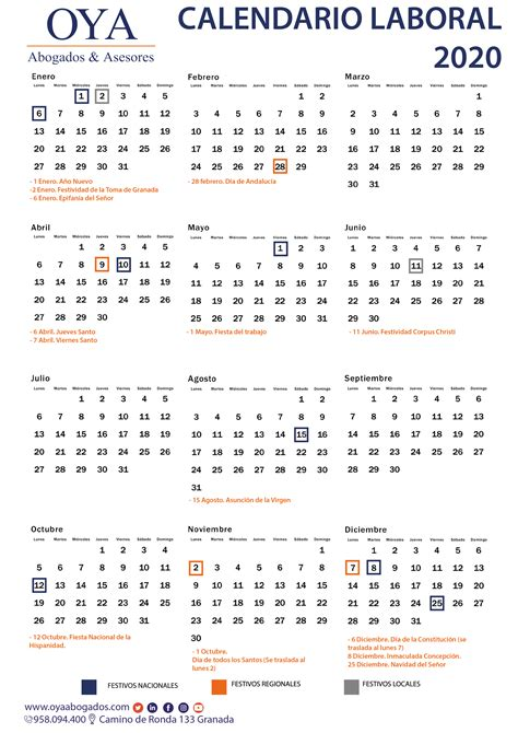 calendario laboral  de granada oya abogados asesores