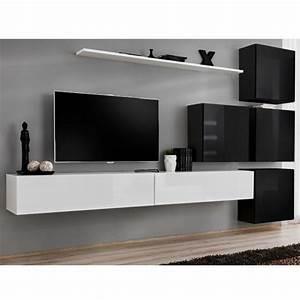 Meuble Tv Mural Blanc : meuble tv mural design switch ix 310cm blanc noir ~ Dailycaller-alerts.com Idées de Décoration