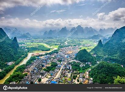 China Guilin Karst Gebergte Cina Fiume Carsiche