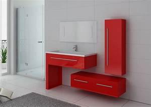 meuble de salle de bain rouge coquelicot dis9251co meuble With meuble salle de bain simple vasque