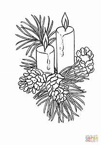 Beautiful Christmas candles coloring page | Free Printable ...