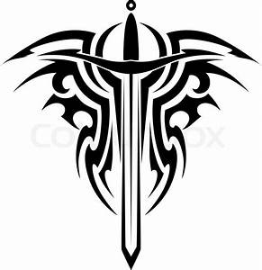 Tribal tattoo design with medieval sword isolated on white ...