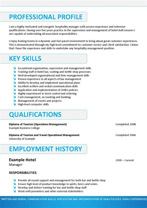 hospitality resume template design resume template