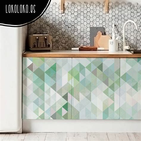 vinilo adhesivo de mosaico de triangulos verde agualokoloko