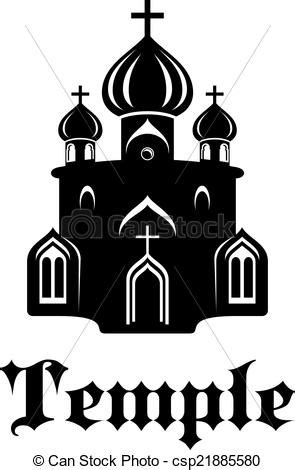 Christian temple or church. Black and white silhouette of