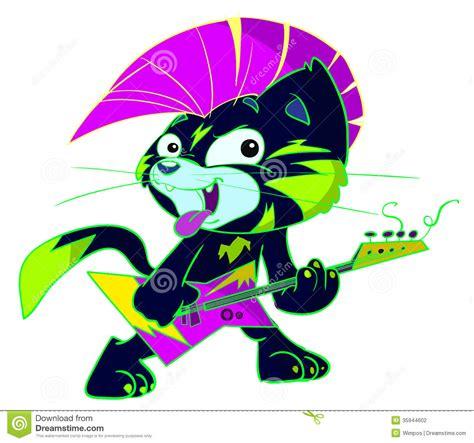 Punk Rock Cat Playing Electric Guitar Stock Photography ...