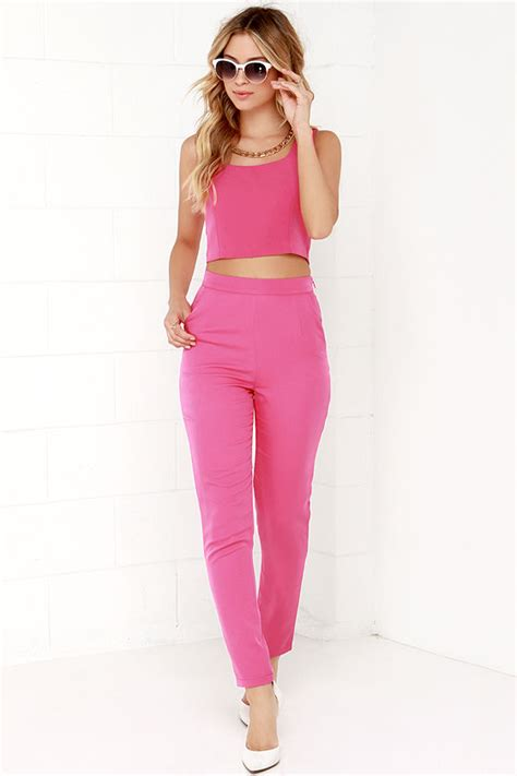 Two-Piece Set - Pink Outfit - Pants Set - $76.00