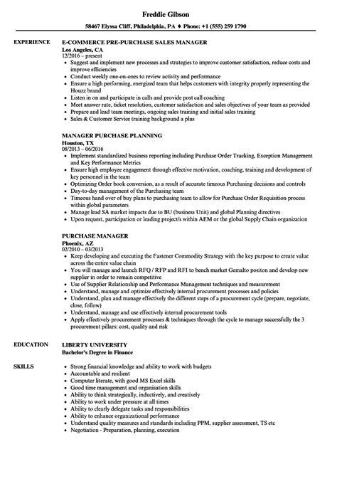 Purchasing Resume Sle by Purchase Manager Resume Sles Velvet