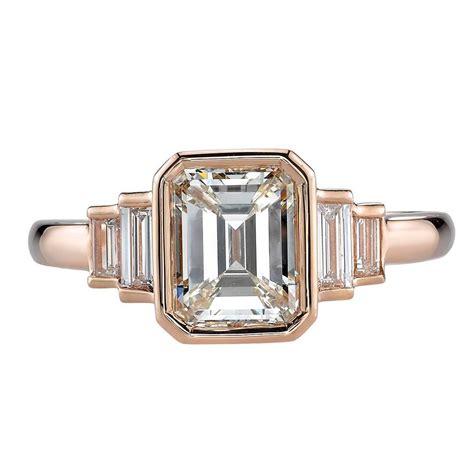emerald cut deco engagement rings deco 1 53 carat emerald cut gold engagement