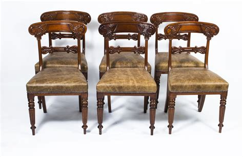 antique set 6 regency mahogany dining chairs c 1820