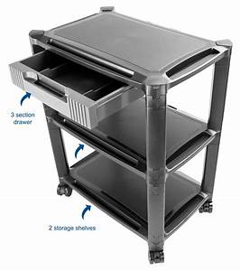 Height Adjustable Computer Cart Smart Stacked Rolling