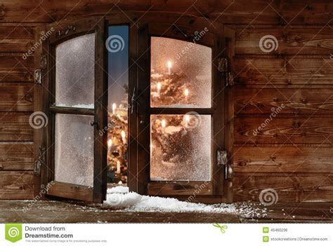 Open Snow by Snow At Open Wooden Window Pane Stock Photo