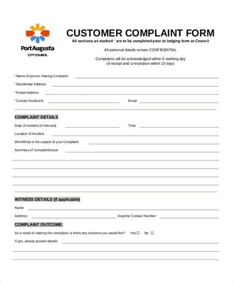 complaint template customer complaint form 8 free pdf doc