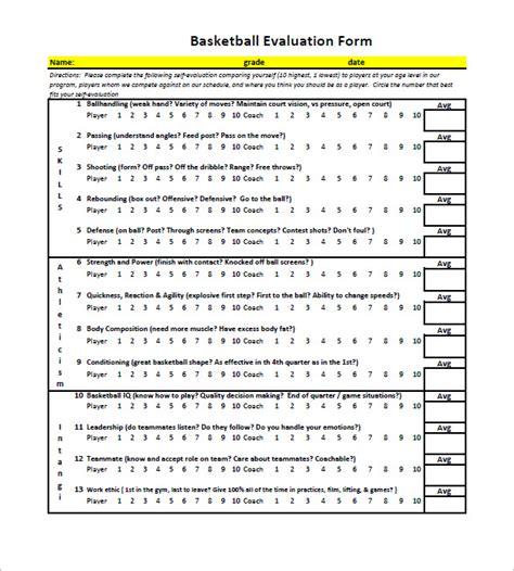 12 free basketball evaluation forms free premium templates