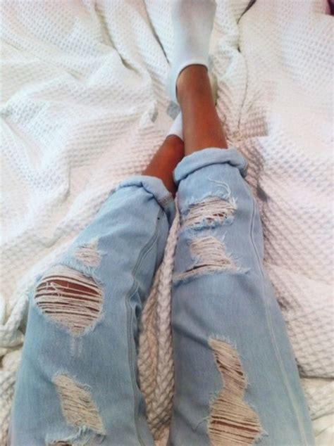 Jeans tumblr boyfriend jeans ripped jeans light blue ripped light jeans light washed denim ...