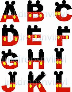 mickey mouse inspired letters and numbers red by With mickey mouse alphabet letters