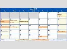June 2017 Australia Calendar with Holidays for printing