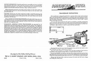 American Flyer Transformer Instructions