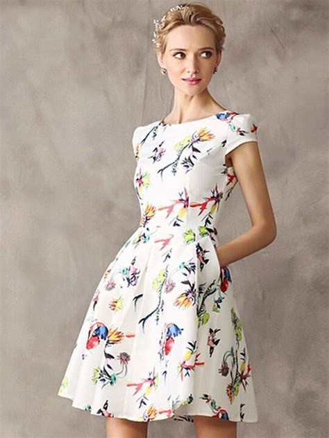 New Look Floral Design by White Floral Cap Sleeve High Waist Skater Dress Dresses