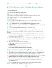 9 2 the process of cellular respiration worksheet aerobic pathways are processes that require oxygen