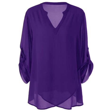 purple blouse womens plus size split neck adjustable sleeve blouse in purple