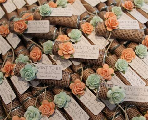 shabby chic wedding favor ideas mint wedding favors set of 24 mint rolls quot mint to be quot favors with personalized tag burlap