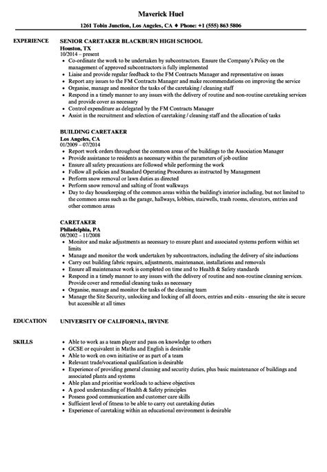Caretaker Resume Samples | Velvet Jobs