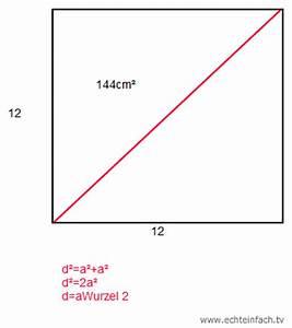 Flächeninhalt Quadrat Seitenlänge Berechnen : quadrat herausfinden welche kantenl nge und diagonale das quadrat hat wenn nur der ~ Themetempest.com Abrechnung
