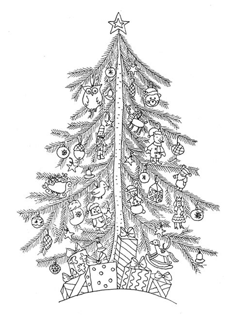 christmas tree simple christmas coloring pages  adults