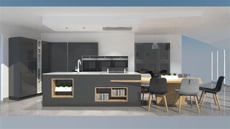 vervenne cuisine cuisine moderne avec îlot phénix gris anthracite et bois