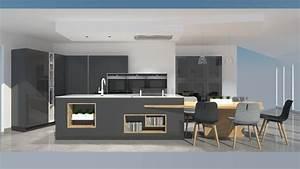 cuisine moderne avec ilot phenix gris anthracite et bois With cuisine gris et bois